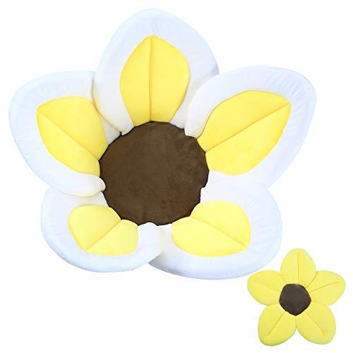 Baby Bath Flower Soft Cushion Non-Slip Safety Sink Insert Tub Creative Play-mat 0-12 Months, Includes Mini Bath Flower Scrubby Toy BPA Free (Baby Yellow)