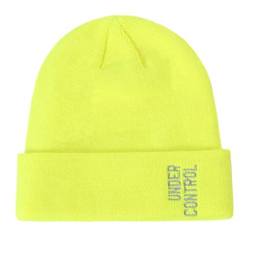 Men Women Winter Beanie Hat - Neon Yellow Knit Watch Hat, Stocking Skull Cap Skullcap for Guys, CC Ideal Fashion Accessories