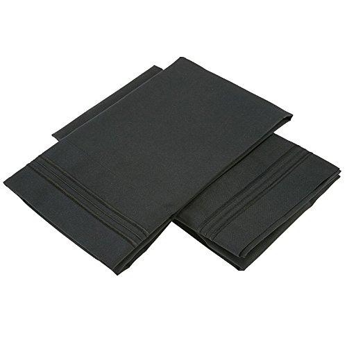 Clara Clark Premier 1800 Collection Pillowcase Set - King Size, Black CC-PC-18-K-Blk
