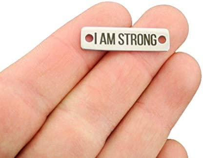 I Am Enough Connector Charm Stainless Steel Bar CON177 Quantity Options