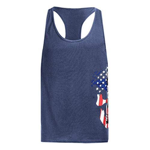 - YOCheerful Men's Vests Round Neck Sexy Slim Printed Sport Sleeveless Shirts Cool Vest 4th of July Tank Tops(Navy, L)