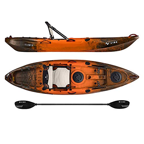Vibe Kayaks Yellowfin 100   10 Foot   Angler Recreational Sit On Top Light Weight Fishing Kayak with Paddle + Adjustable Hero Comfort Seat (Wildfire - Journey Paddle)