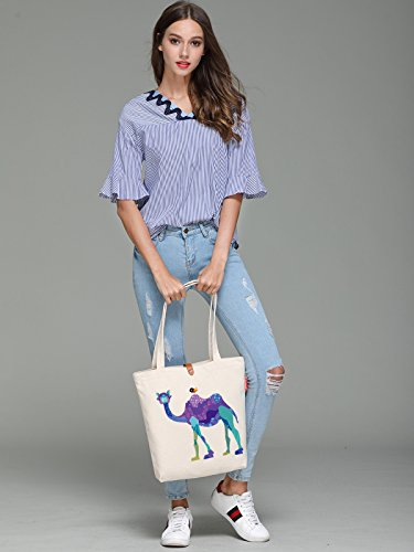 So'each Women's Animal Camel Bird Graphic Top Handle Canvas Tote Shoulder Bag