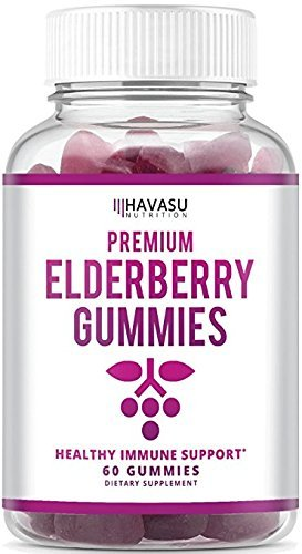 Elderberry Gummies - Supports Immune System Health - Made with Premium Plant-Based Pectin - NO Gelatin, NO Fructose Corn Syrup, Gluten Free - Natural Ingredients 60 Gummies Per Bottle ()