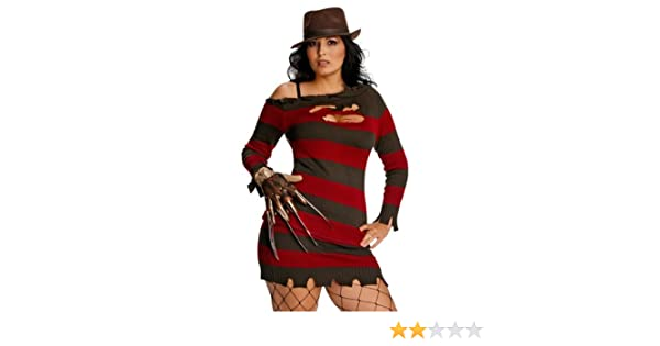 Struts Fancy Dress Señoras señorita Freddy Krueger Traje de Talla ...