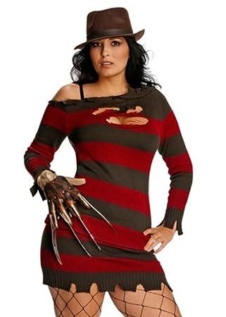 Struts Fancy Dress Señoras señorita Freddy Krueger Traje de Talla ...
