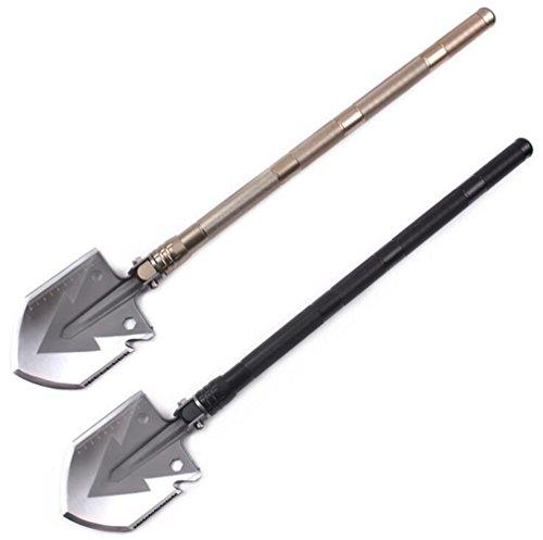 QianYuan Multifunctional Folding Shovel Self-defense Ordnance Outdoor Camping Tool Survival Equipment Y1001 (Golden (Crowbar Prop)