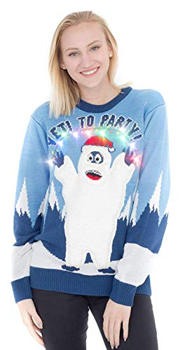 Yeti to Party Abominable Snowman Light up Blue Ugly Christmas Sweater (Adult XX-Large) (Christmas Costumes For Party)