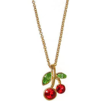 Amazon.com  GIRLPROPS Nickel Free Cherry Necklace with Crystals 6c1efac1d41c