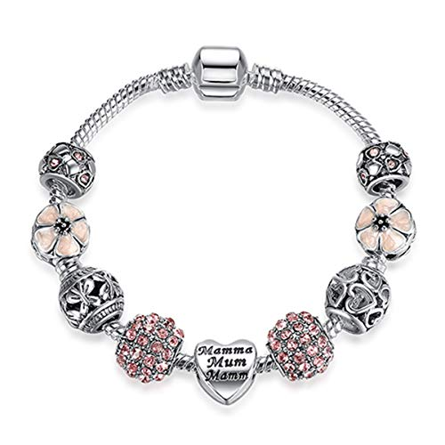 Original Silver 925 Crystal Four Leaf Clover Bracelet with Clear Murano Glass Beads Charm Bracelet Bangle for Women DIY Jewelry PS3808 17cm