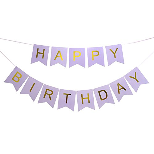 Happy Birthday Banner, Happy 1st 3rd 10th 16th 30th 40th 50th 60th 90th Birthday Party Decorations Supplies Swallowtail Bunting Flag Garland (Purple & Gold) -