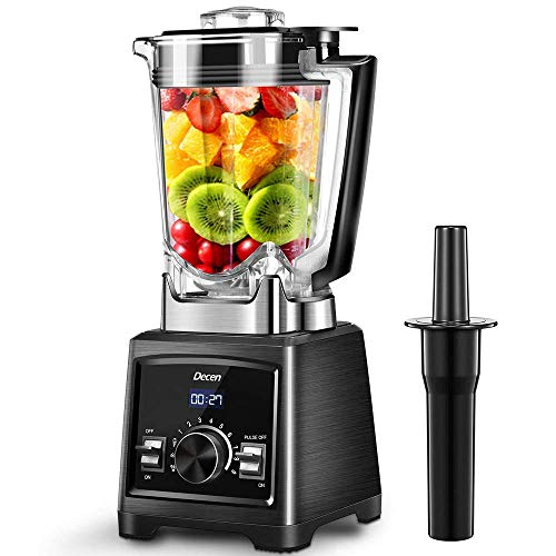 Blender Decen Smoothie Maker, 35000 RPM High Speed Professional Countertop Blender for Ice, Shakes and Smoothies, Nuts and Butter, 9-Speeds Control, 72OZ BPA-Free Tritan Pitcher, 1450W (Best Blender For Nut Butter)