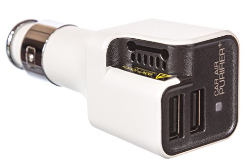 Car Charger,The Most Healthy Car Air Purifier Ionizer, 10W with 2- USB Ports for Rapid Charge for iPhones, iPads, Samsung Galaxy, and More. (White and Black)