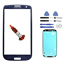(md0410) Pebble Blue Front Outer Lens Glass Screen Replacement For Samsung Galaxy S3 SIII i9300 + Adhesive + Tools + 5ml UV LOCA Liquid Glue i747 L710 T999 i535