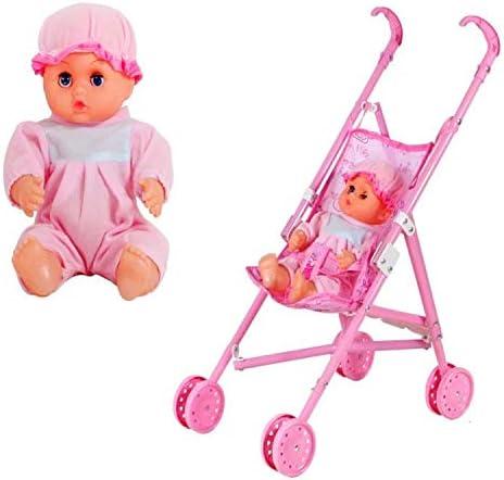 Baby doll le ragazze giocattolo con Carrozzina Passeggino Pieghevole Giocattolo Gioco Ragazze Rosa casa delle bambole