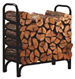Panacea Deluxe Outdoor Log Rack, Black, 4-Feet with Free Panacea Black Log Tote