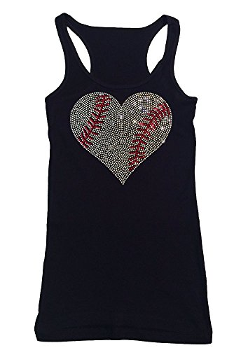 - Womens Fashion T-Shirt with Crystal Baseball Heart in Rhinestones (1X, Black Tank Top)