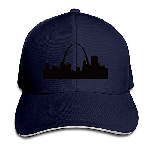 St. Louis Skyline Silhouette Navy Adjustable Snapback Caps Unisex Sandwich Hats (Louis Starter Rams)
