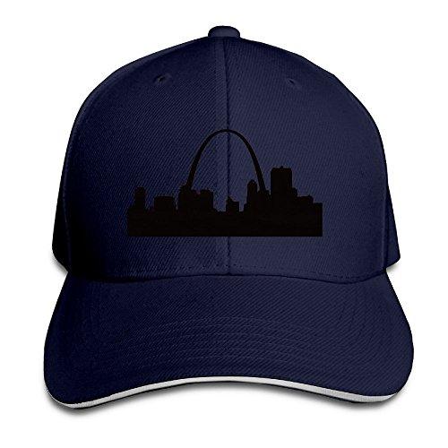 St. Louis Skyline Silhouette Navy Adjustable Snapback Caps Unisex Sandwich Hats (Starter Louis Rams)