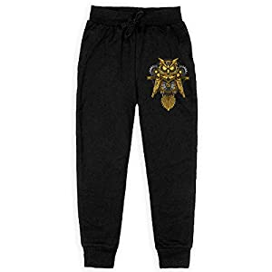 Boys Fashion Sweatpants Owl Steampunk Adjustable Waist Running Pants with Pocket