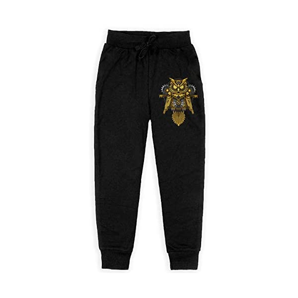 Boys Fashion Sweatpants Owl Steampunk Adjustable Waist Running Pants with Pocket 3