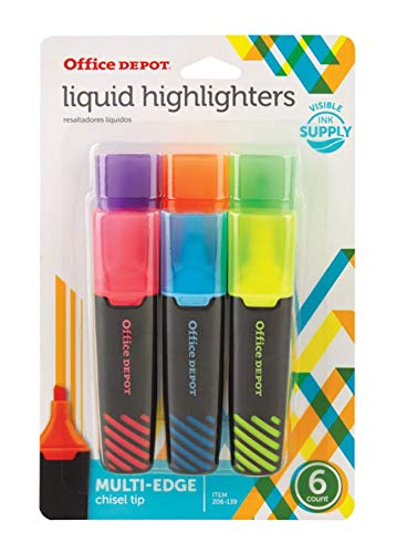 (Office Depot Brand Liquid Highlighters, Chisel Point, Black/Translucent Barrel, Assorted Ink Colors, Pack of)
