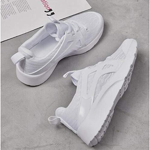 PU Cerrado de con Primavera Comfort Flat Negra Zapatos Blanca Poliuretano Punta Mujer Verano Black Heel ZHZNVX Sneakers tP5wq71n