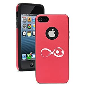 Apple iPhone 4 4s Aluminum Silicone Dual Layer Hard Case Cover Infinity Soccer Forever (Red)