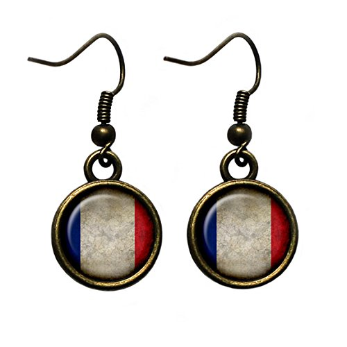 France French Flag Antique Bronze Earrings