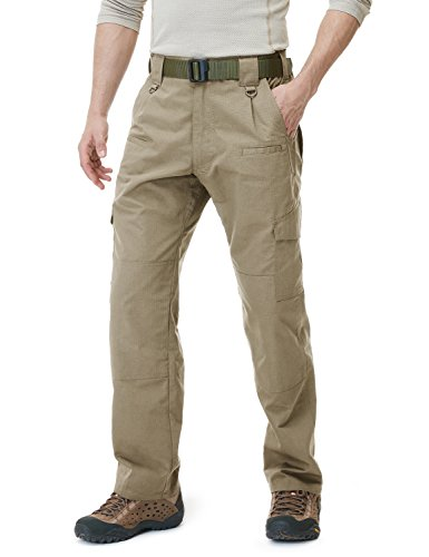 CQR CQ-TLP104-KHK_34W/30L Men's Tactical Pants Lightweight EDC Assault Cargo TLP101/102/103/104 (Pants Mens Pocket Cargo)