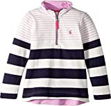 Joules Kids Baby Girl's 1/2 Zip Sweatshirt (Toddler/Little Kids/Big Kids) Navy Stripe 6