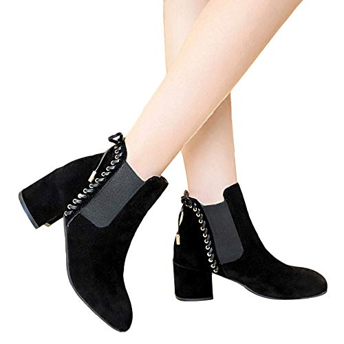 SSYUNO Big Sale Casual Women High Heel Shoes Boot Suede Solid Color Round Toe Slip-On Shoes,Black,Khaki – DiZiSports Store