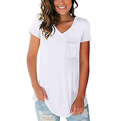 SAMPEEL Women's Basic V Neck Short Sleeve T Shirts Summer Casual Tops at Women's Clothing store