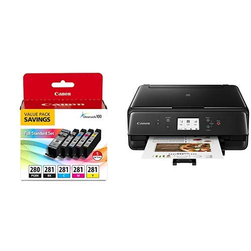 Canon 2986C002 PIXMA TS6220 Wireless All In One Photo Printer with Copier, Scanner and Mobile Printing, Black and PGI-280 / CLI-281 5 Color Ink  Pack