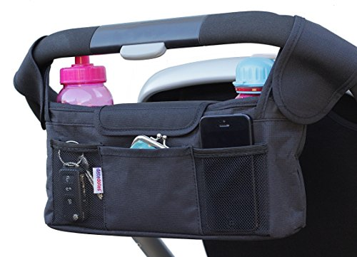 deluxe stroller organizer by dotedotes universal black diaper bag thermo insulated cup. Black Bedroom Furniture Sets. Home Design Ideas