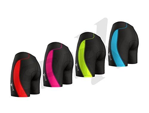 Sparx Women's Triathlon Short Active Tri Shorts Bike Swim Run (Black/Pink, 2XL)