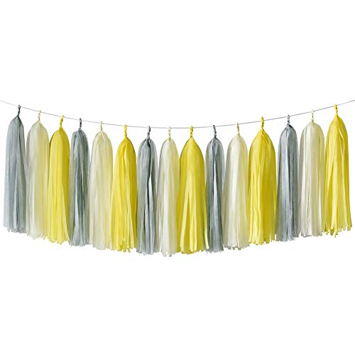 - HappyField Yellow Gray Cream Tissue Paper Tassel Garland Birthday Party, Bridal Shower, Baby Shower, Wedding, Bachelorette, Table Decor Event & Party Decorations, DIY Kits