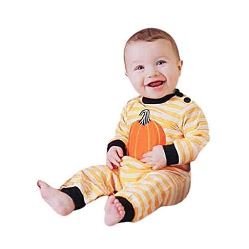 Goddesslili Baby Halloween Costumes, Cute Cartoon Pumpkin Striped Romper Jumpsuit for Kids 3-24 Moths, Wonderful Gift Choice Yellow