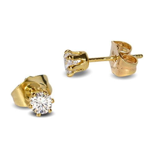 7a18688c33b98b Blue Diamond Club - Tiny 9ct Yellow Gold Filled Womens Stud Earrings Girls  Round 4mm White Crystals 6 Claws