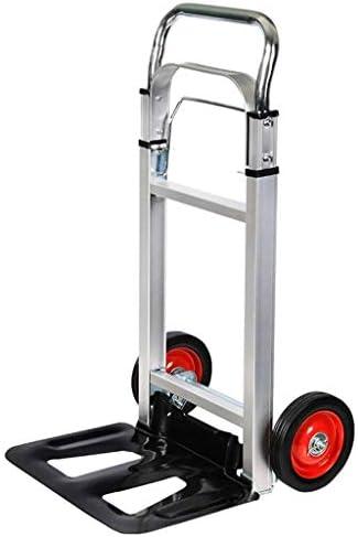 ポータブル多機能アルミニウム合金ショッピング食料品、軽量で耐久性のある静かな車輪付き折りたたみトロリー