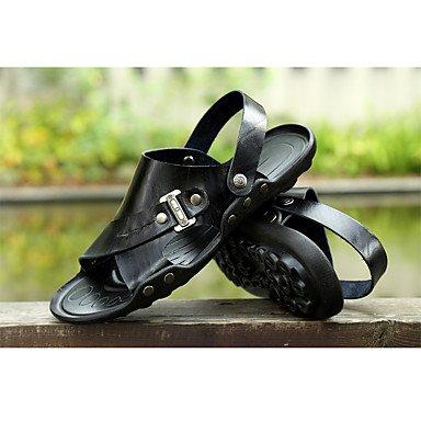 Unisex sandalias Primavera Verano Otoño comodidad oficina exterior de cuero de vaca y carrera vestir casual zapatos de agua Black