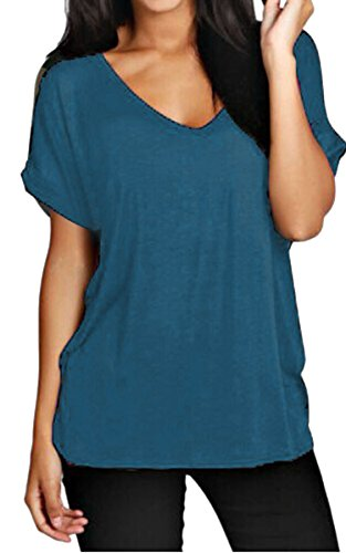 Meaneor Women Solid Comfy Loose Fit Roll Over Short Sleeve V Neck Lightweight Top Tee – XXX-Large, Teal