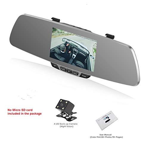 Dash Cam, OUMAX RV50HD-S Dual Lens Car Camera, Sony IMX323 EXMOR CMOS Image Sensor, 5.0 Inch HD Screen, Enhanced FHD1080P Super Night Vision - Silver