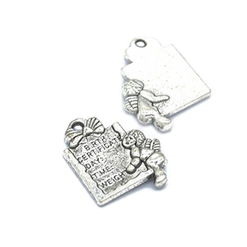 (50pcs Metal Alloy Antique Silver Tone with Letter Fairy Angel Charm Pendant for Necklace Bracelet DIY Jewelry Making Accessories 20x15mm (50pcs Letter Fairy))