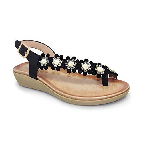 Lunar Bow' Floral Toe Loop Sandal with Padded Insole, Lightweight and Comfortable, Beige, Blue, Black Red, Sizes 3,4,5,6,7,8 Black