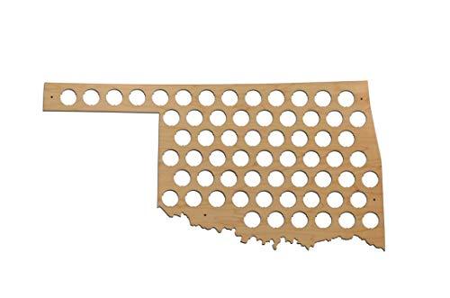 All 50 States Beer Cap Map - Oklahoma Beer Cap Map OK - Glossy Wood - Skyline Workshop ()