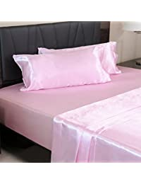Luxury Satin Pillowcases for Hair and Skin, Set of 2, Standard/Queen Size - Pink