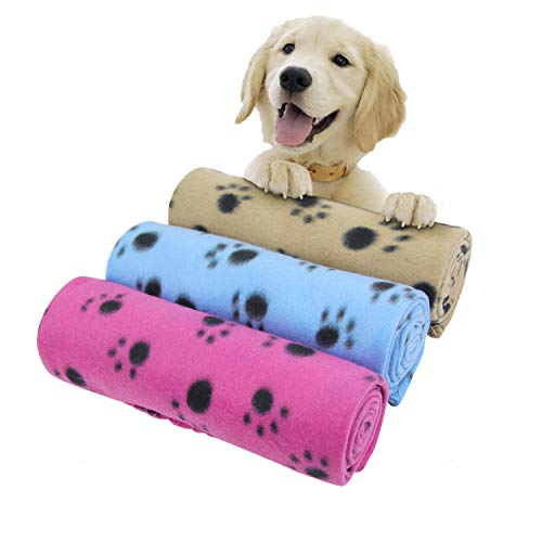AK KYC 3 Pack 40 x 28 '' Puppy Blanket Cushion Dog Cat Fleece Blankets Pet Sleep Mat Pad Bed Cover with Paw Print Kitten Soft Warm Blanket for Animals, Mixed A