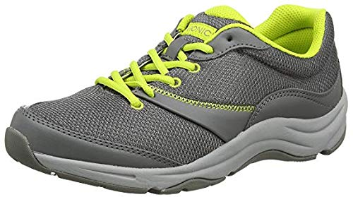 Vionic Women's Action Kona Lace-up Walking Fitness Shoes - Ladies Sneakers with Concealed Orthotic Arch Support 6.5 M US Grey