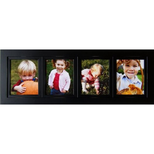 My Barnwood Frames – Lightly Distressed Multi-Opening Black Collage Wood Picture Frame, Handmade in the USA (4 Opening, 8×10 Inch Portrait)